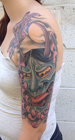 Hannya Mask and Spider Mums Tattoo