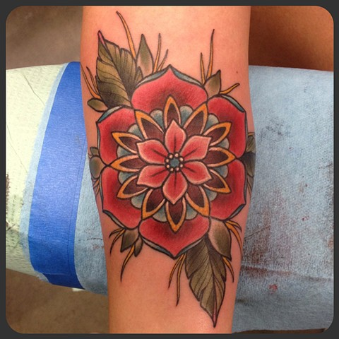geometric flower tattoo color - photo #12