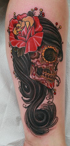 Day of the Dead Gypsy Skull Tattoo