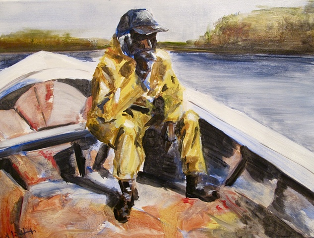 low country, crabbing, black man, boat
