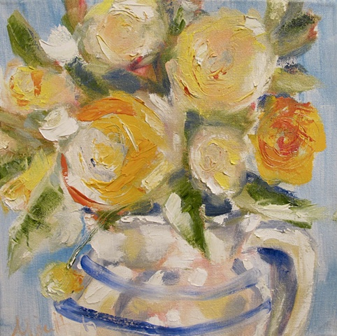 poppies, pitcher, flowers, pastel, impressionistic