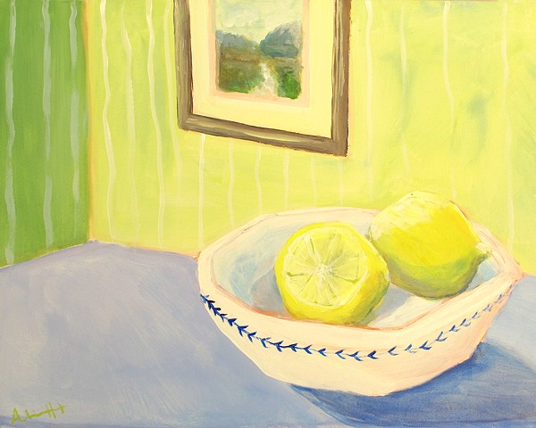 still life, lemons, blue and white, art