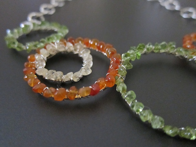 IC Peridot, Carnelian and Silver Necklace