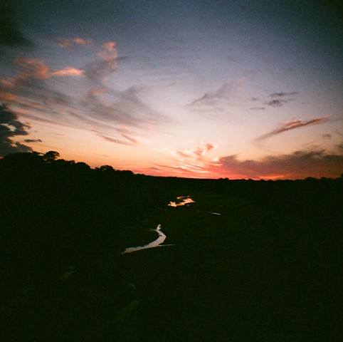 sunset outside of llano texas taken with a 35mm film diana mini camera