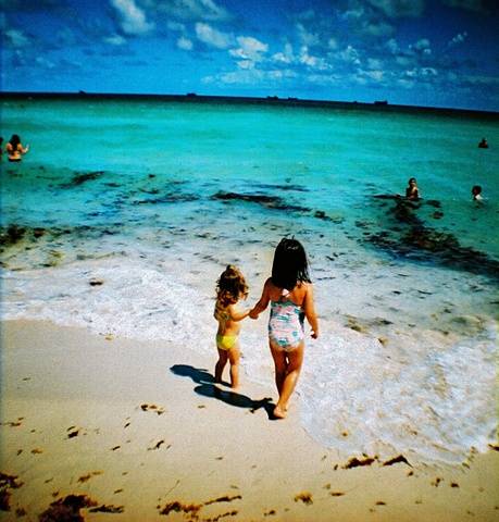 kids at the beach, lomography, slide film cross processed