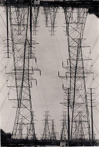 layered negatives double exposure of power lines darkroom