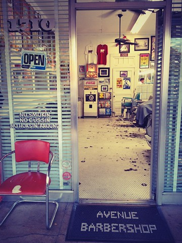 metallic photograph of austin texas barbershop
