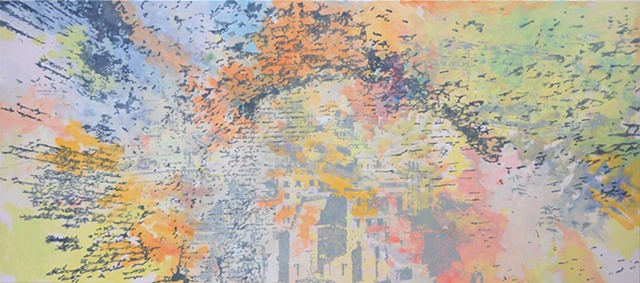 "Ancient Spaces oil and acrylic on canvas 50 x 100"" 2011 private collection"