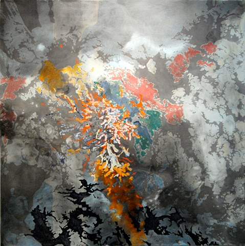 "Coexistence oil and acrylic on canvas 60 x 60"" 2010 private collection"