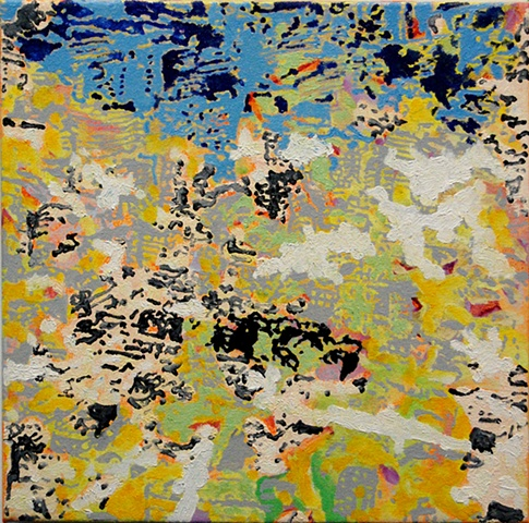 "White - Yellow oil and acrylic on canvas 14 x 14"" 2010 private collection"