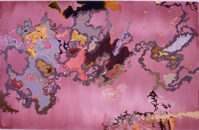"""Purple Map"" acrylic and enamel on canvas 42 x 66"" 2004 private collection"
