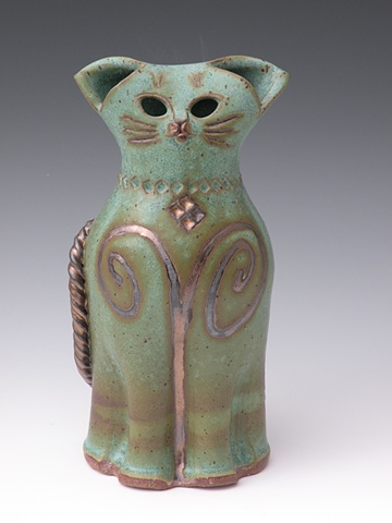 Bronze Green Stoneware Cat - sold
