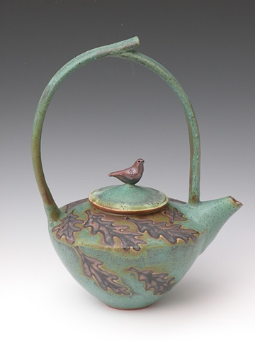 Bronze Green Stoneware Teapot with High Handle and Bird on Lid