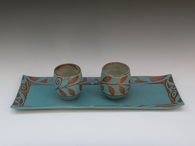 Long tray #2 and tea bowls