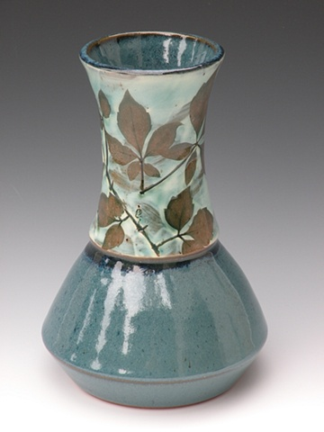 Wide base vase with Porcelain slip