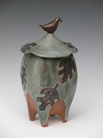 Bird-Topped Footed Vessel