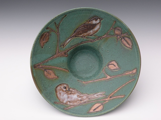 April Green Gold Bird Plate