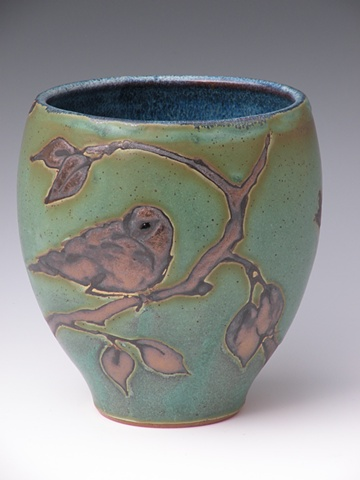 Wide Bronze Green Stoneware Vase - sold