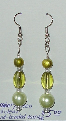 Amber, Clear, and Green drop earrings