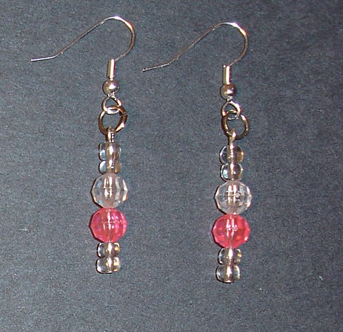 Pink and Clear drop earrings