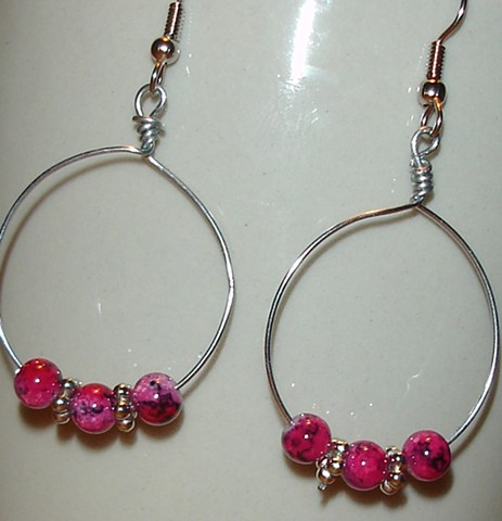 Pink bead and hoops