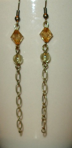 Old gold tone chain, with beads