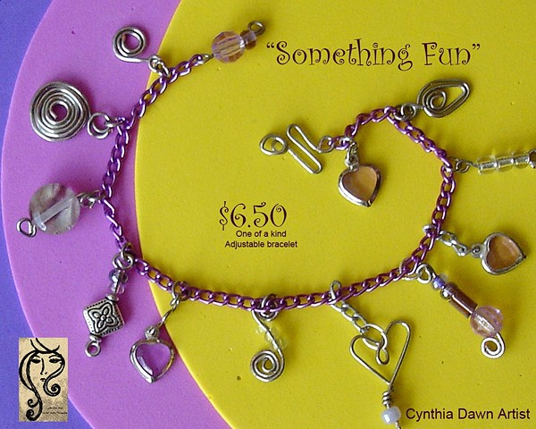 """Something Fun"" wire, bead, and chain bracelet"