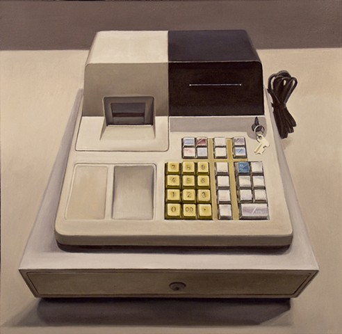 cash register, oil painting