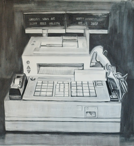 cash register, drawing