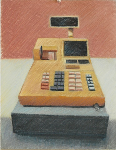 pastel drawing, cash register, register, drawing