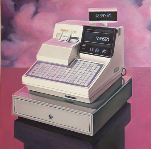oil painting of a cash register
