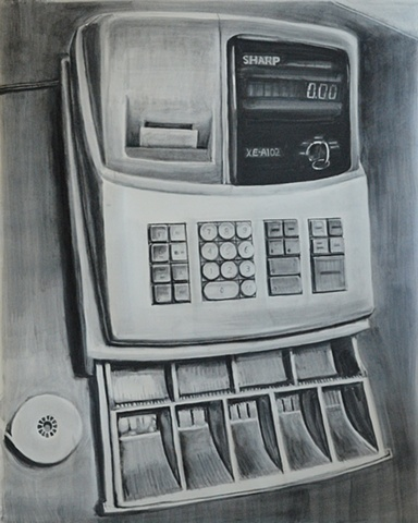cash register, register, drawing
