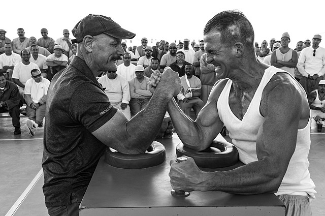 World Champion Arm wrestler with inmate.