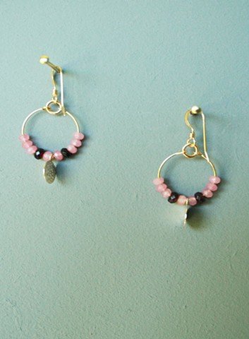 14ct gold-filled earrings with gold-filled charm pink and plum jade.