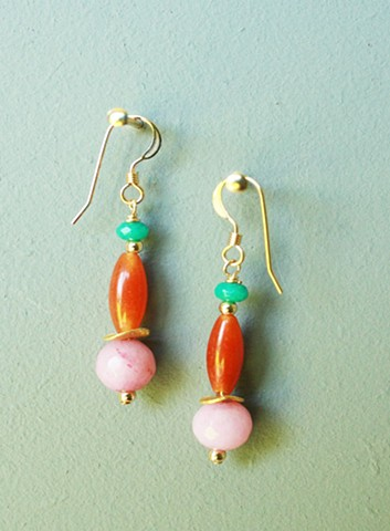 14ct gold-filled earrings with jade, red aventurine and pink jade.