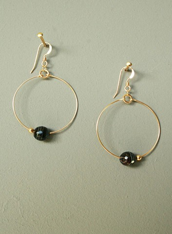 14ct gold-filled earrings with gold-filled hoop, black stripe agate and gold-filled bead.