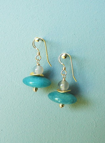 14ct gold-filled earrings with aqua quartz and grey onyx.