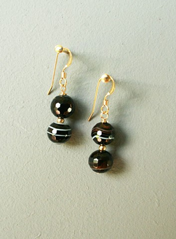 14ct gold-filled earrings with black stripe agate