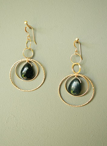 14ct gold-filled earrings with Dumortierite and gold-filled links.