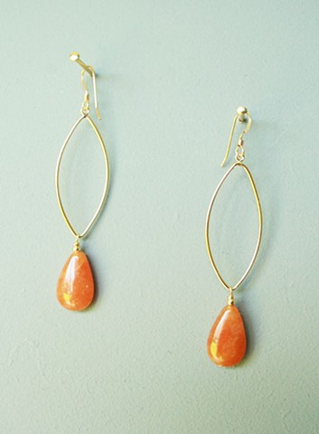 14ct gold-filled earrings with marquise drop and red aventurine.