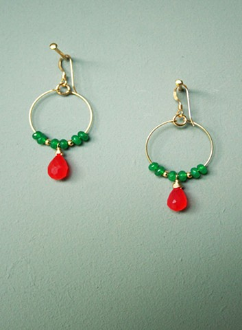 14ct gold-filled earrings with emerald green jade and pink chalcedony.