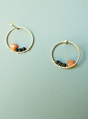 14ct gold-filled endless hoops with wire wrapped red aventurine and black onyx.