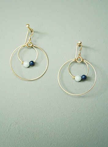14ct gold-filled earrings with angelite, lapis lazuli and gold-filled bead.