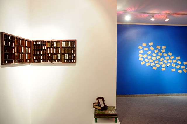 Gallery installation view (L to R- 'The Awakening', 'Synonym Homonym Antonym' and 'Anthem')