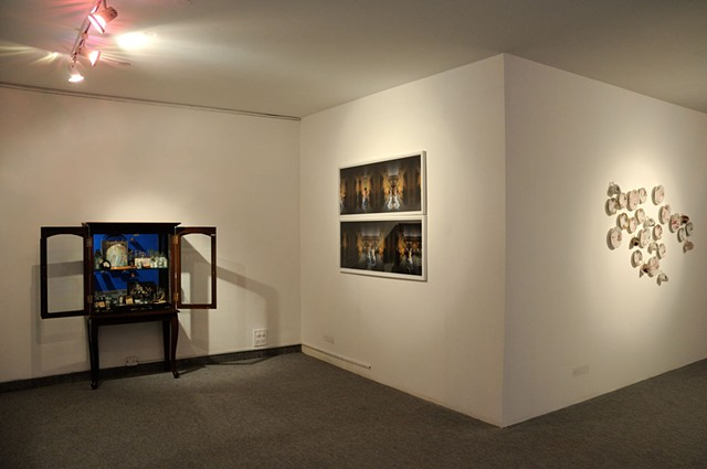 Gallery view (L to R: 'The Other Side of Time', 'Here I Lie in my Own Separate Skin' and 'Afternoon Tea Party, 1947')