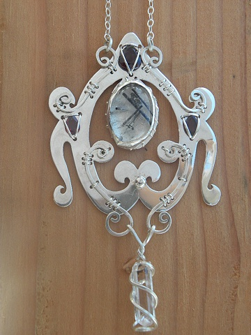 Baroque-Rococo necklace with sterling silver, tourmaline in quartz, garnet, and topaz