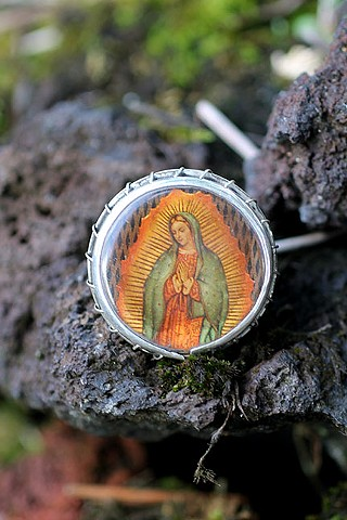 sterling silver, bakelite virgin of gudalupe