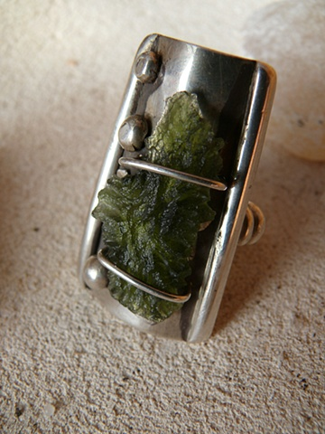 #80, untitled moldavite ring