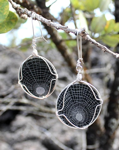 spiderwebs in glass earrings