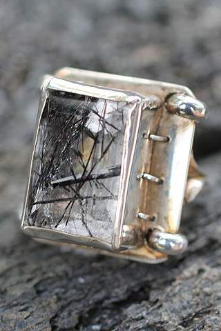 sterling silver, tourmalinated quartz